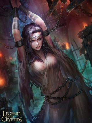 legend of the cryptids, nudtawut thongmai, chain, diadem, earrings, female, jewelry, lingerie, long hair, pantsu, piercing, solo, torn, torn clothes, transparent clothes, underwear